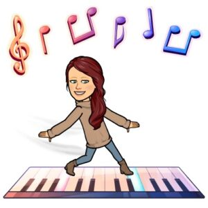 Image is a dancing Ms. Lisa wearing a tan Sweater, blue pants, and tan boots, dancing on a giant floor piano. Floating above Ms. Lisa are six floating musical notes.