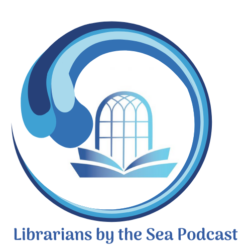 Librarians by the sea logo. library logo with circular wave