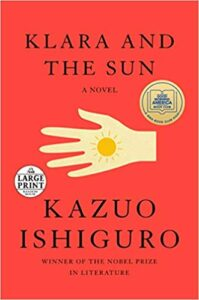 Cover of Klara and the Sun. red with a hand and sun