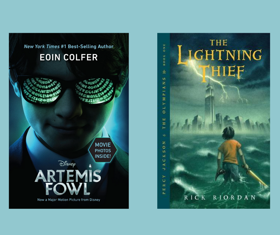 Artemis Fowl and Percy Jackson book covers