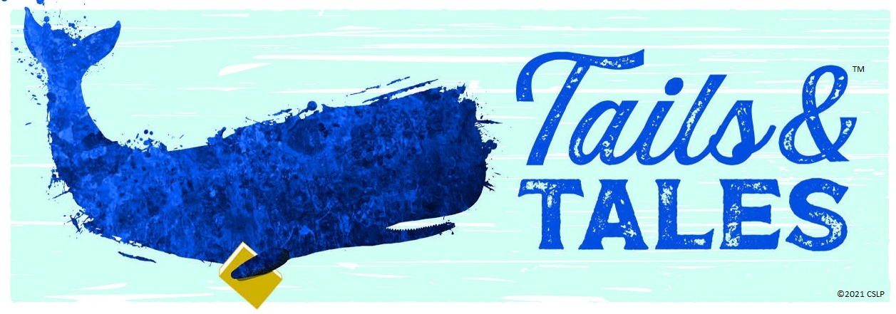 tales and Tails whale with a book, logo for summer reading