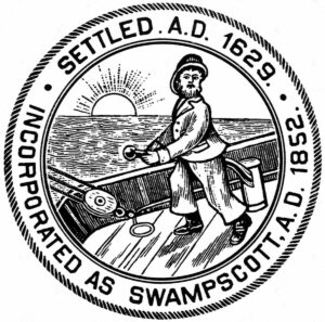 Swampscott town logo, man on boat